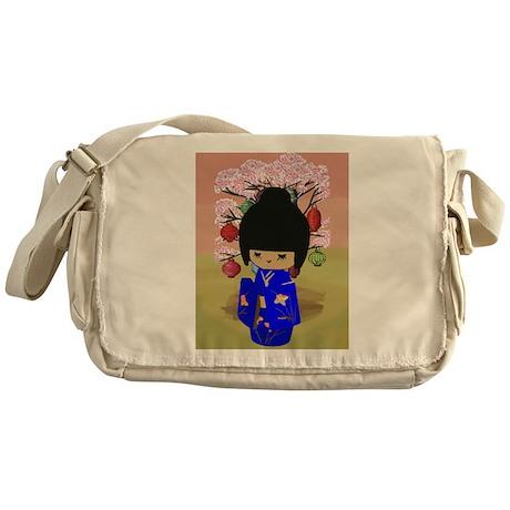 Blue Kawaii Kokeshi Doll Messenger Bag