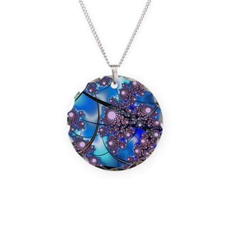 Spring Blossoms Fractal Necklace Circle Charm