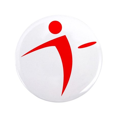 """Nano Disc Golf RED Logo 3.5"""" Button"""