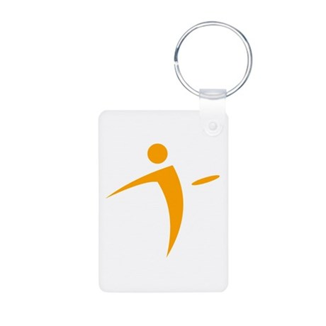 Nano Disc Golf ORANGE Logo Aluminum Photo Keychain