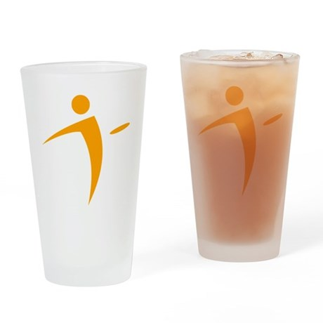 Nano Disc Golf ORANGE Logo Drinking Glass