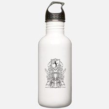 Black/White Disc Golf Coat of Arms Water Bottle