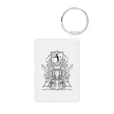 Black/White Disc Golf Coat of Arms Keychains