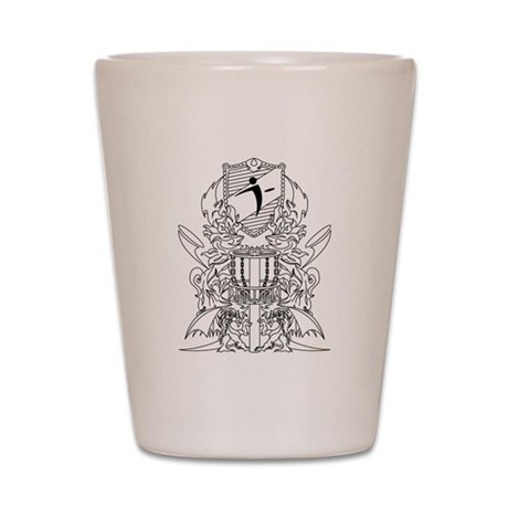 Black/White Disc Golf Coat of Arms Shot Glass