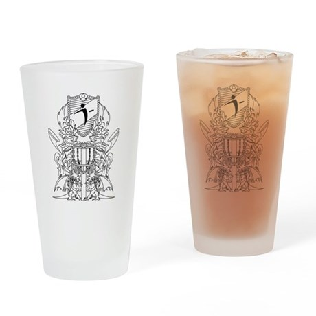 Black/White Disc Golf Coat of Arms Drinking Glass