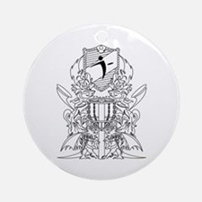 Black/White Disc Golf Coat of Arms Ornament (Round