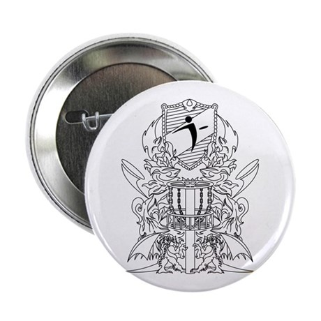 """Black/White Disc Golf Coat of Arms 2.25"""" Button"""