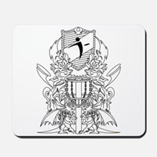 Black/White Disc Golf Coat of Arms Mousepad
