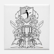 Black/White Disc Golf Coat of Arms Tile Coaster
