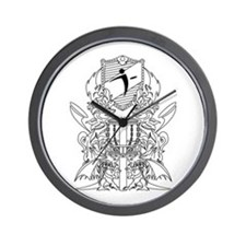 Black/White Disc Golf Coat of Arms Wall Clock