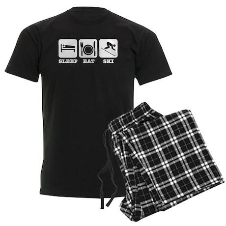 Sleep Eat Ski Men's Dark Pajamas