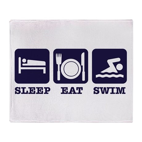 Sleep eat swim Throw Blanket