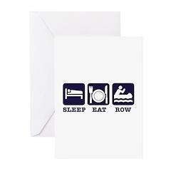 Sleep eat row Greeting Cards (Pk of 10)