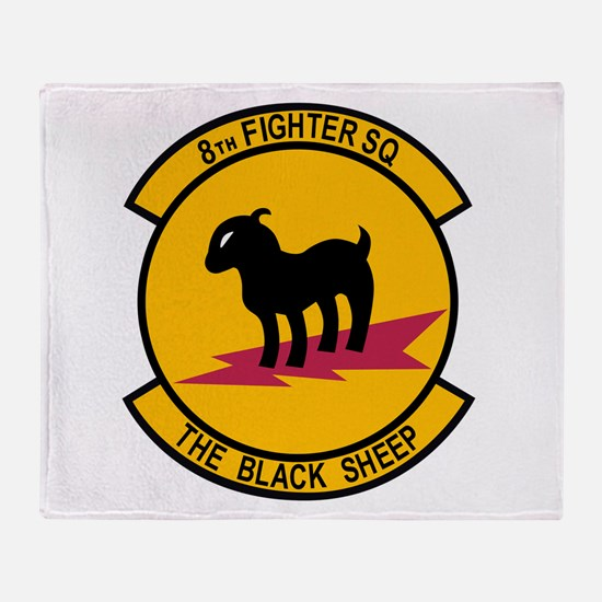 8th Fighter Squadron Black Sh Throw Blanket