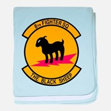 8th Fighter Squadron Black Sh baby blanket