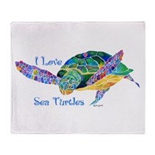 Beautiful Sea Turtle Throw Blanket