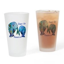 Save The Manatees in Blues Drinking Glass