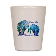Save The Manatees in Blues Shot Glass