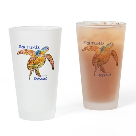 Sea Turtle Rescue 1 Drinking Glass