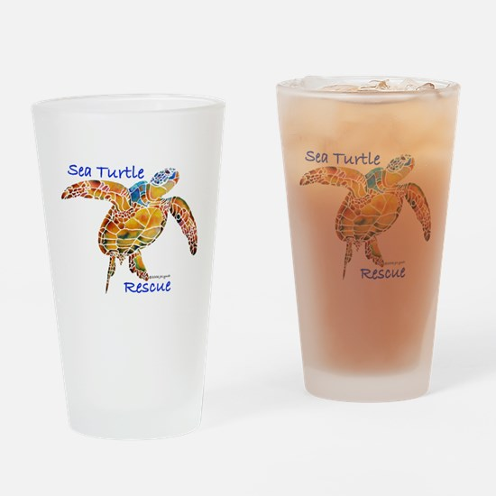 Sea Turtle Rescue 1 Drinking Glass