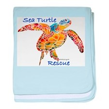 Sea Turtle Rescue 1 baby blanket