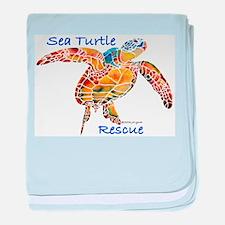 Sea Turtle Rescue 1 baby blanket