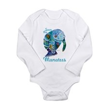 Save The Manatees Long Sleeve Infant Bodysuit