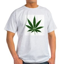Simple Marijuana Leaf Ash Grey T-Shirt