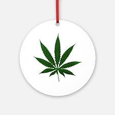 Simple Marijuana Leaf Ornament (Round)