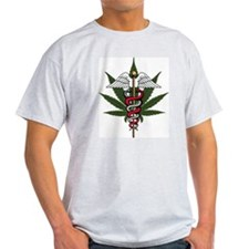 Medical Marijuana Caduceus Ash Grey T-Shirt