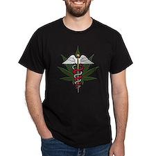 Medical Marijuana Caduceus Black T-Shirt