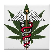 Medical Marijuana Caduceus Tile Coaster