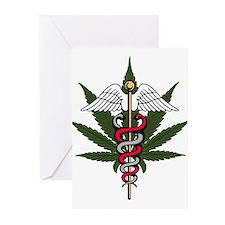 Medical Marijuana Caduceus Greeting Cards (Package