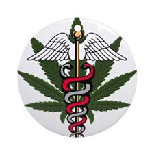 Medical Marijuana Caduceus Ornament (Round)