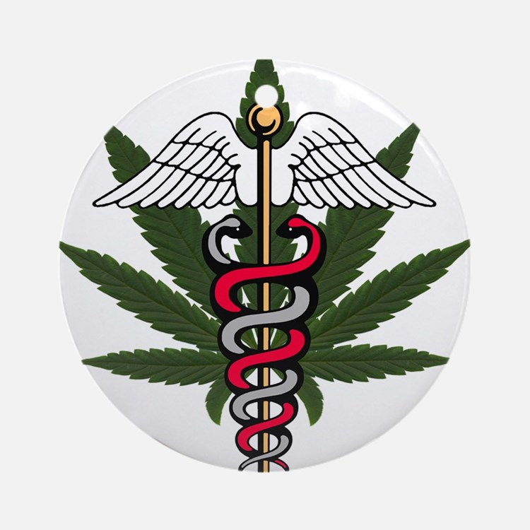 Medical Marijuana Caduceus Ornament (Round)