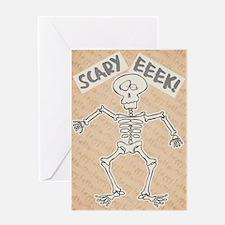 Scared Skeleton Halloween Greeting Card