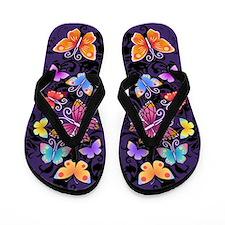 Swirls&Butterflies Dark Flip Flops