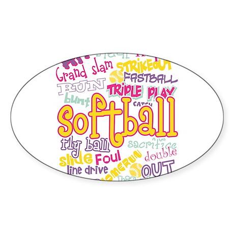 Softball Sticker (Oval 50 pk)