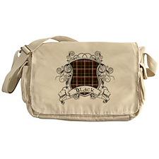 Black Tartan Shield Messenger Bag