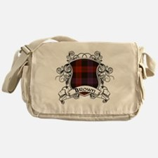 Brown Tartan Shield Messenger Bag
