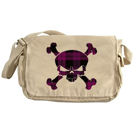 Pink Black Tartan Skull Messenger Bag