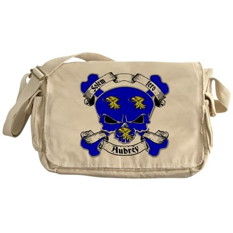 Aubrey Family Crest Skull Messenger Bag