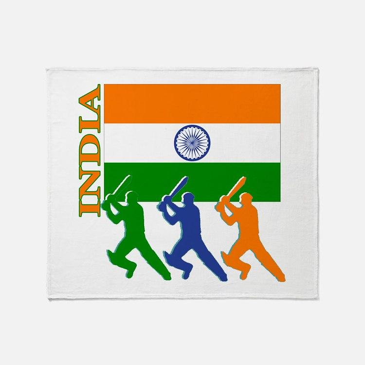 India Cricket Throw Blanket