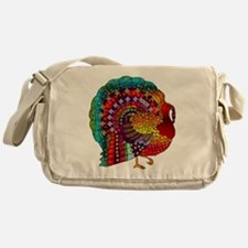 Thanksgiving Jeweled Turkey Messenger Bag