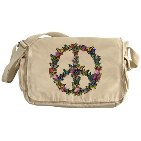 Butterflies Peace Sign Messenger Bag