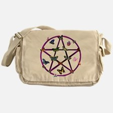 Wiccan Star and Butterflies Messenger Bag