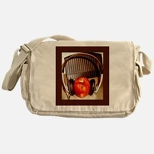 Shiny Red Apple With Headphon Messenger Bag