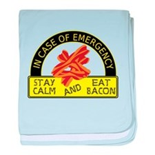 Stay Calm, Eat Bacon baby blanket