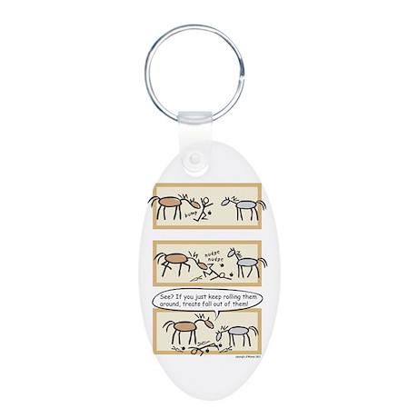 Horse Treats Aluminum Oval Keychain