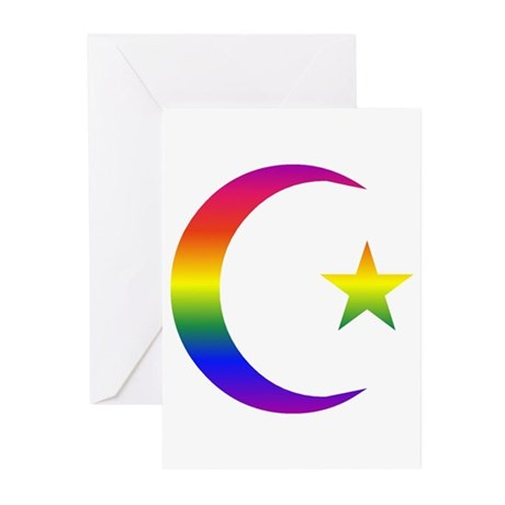 Rainbow Crescent Star Greeting Cards (Pk of 10
